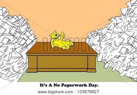 Business cartoon about a worker having a 'no paperwork day'.