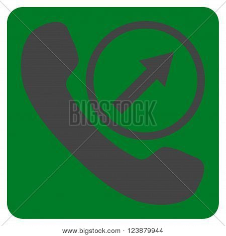 Outgoing Call vector symbol. Image style is bicolor flat outgoing call iconic symbol drawn on a rounded square with green and gray colors.