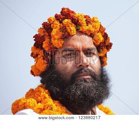 ALLAHABAD, INDIA - FEBRUARY 10, 2013: Unidentified sadhu (holy man) at the Maha Kumbh Mela Hindu religious festival