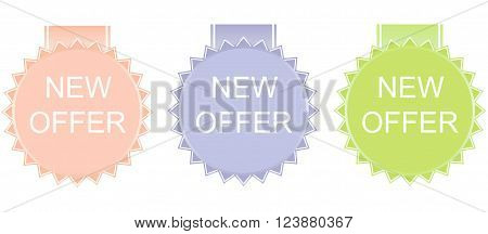 New offer stickers on white background. Vector.