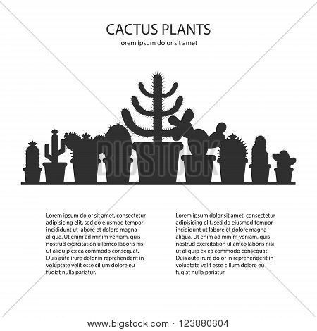 Design template with silhouette cacti in a pot. Icon of cactus flower. Desert plant. Vector concept illustration of a silhouette cactus.