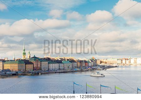 cityscape of old town Gamla Stan in Stockholm, Sweden