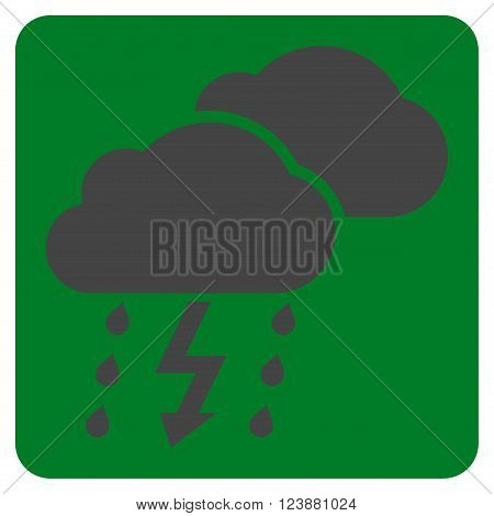 Thunderstorm vector icon. Image style is bicolor flat thunderstorm icon symbol drawn on a rounded square with green and gray colors.