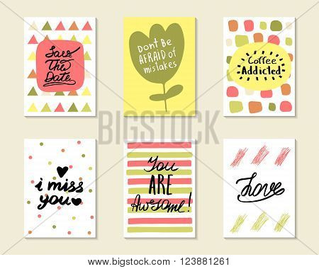 Cute hand drawn doodle postcards cards covers with different elements and quots including love i miss you you are awesome coffee addicted save the date. Positive printable templates set