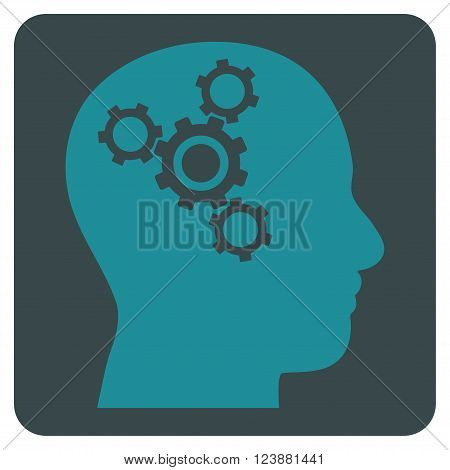 Brain Mechanics vector symbol. Image style is bicolor flat brain mechanics iconic symbol drawn on a rounded square with soft blue colors.