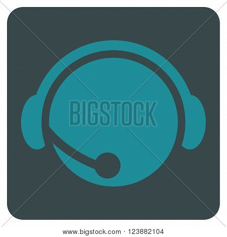 Call Center Operator vector symbol. Image style is bicolor flat call center operator pictogram symbol drawn on a rounded square with soft blue colors.