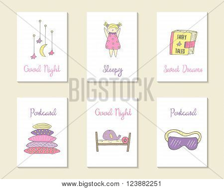 Cute hand drawn doodle cards brochures invitations with pillow bed moon stars sleepy girl whale book with fairy tales night blindfold. Cartoon objects background. Printable templates