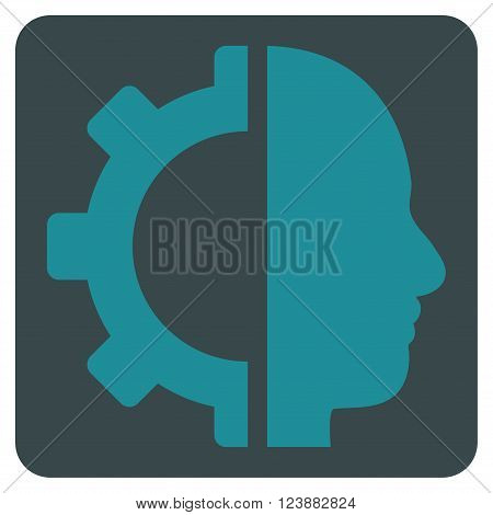 Cyborg Gear vector pictogram. Image style is bicolor flat cyborg gear iconic symbol drawn on a rounded square with soft blue colors.
