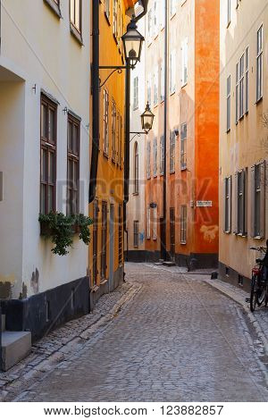 old town Gamla Stan  cosy street in Stockholm, Sweden