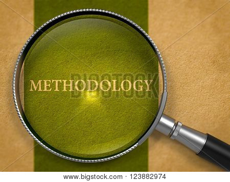Methodology Concept through Magnifier on Old Paper with Dark Green Vertical Line Background. 3D Render.