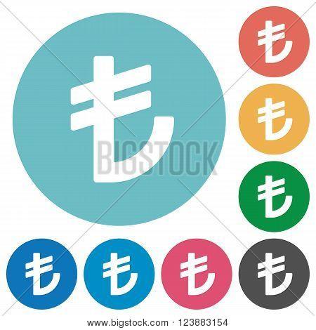 Flat turkish lira sign icon set on round color background.