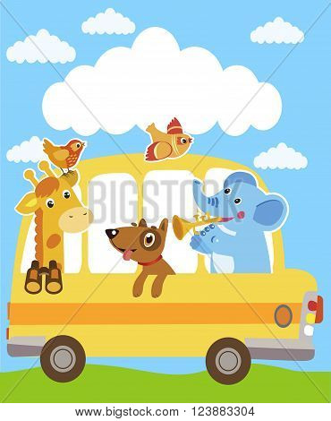 Giraffe. Elephant. Dog. Animals On The Yellow Bus. Funny Animals Party Card Design. School Bus. School Bus Toy. Magic School Bus. School Bus Parts. School Bus Image. Bus Safety. School Bus Song.