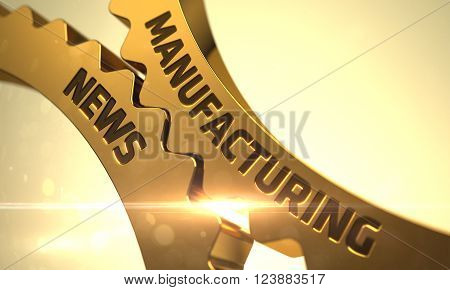Golden Metallic Cog Gears with Manufacturing News Concept. Manufacturing News on the Mechanism of Golden Cogwheels with Lens Flare. Manufacturing News on the Mechanism of Golden Cogwheels. 3D Render.