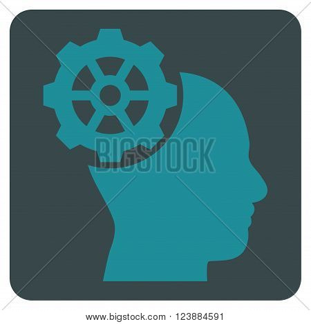 Head Gear vector pictogram. Image style is bicolor flat head gear iconic symbol drawn on a rounded square with soft blue colors.