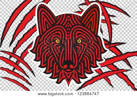 Animal claw scratches with wolf face, isolated on checkered background , good for t-shirt design, emblems, labels, stickers.  Vector illustration
