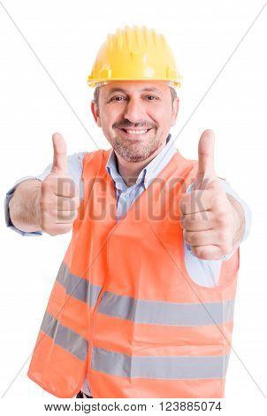 Happy Builder Showing Thumbsup