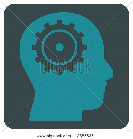 Intellect vector pictogram. Image style is bicolor flat intellect pictogram symbol drawn on a rounded square with soft blue colors.