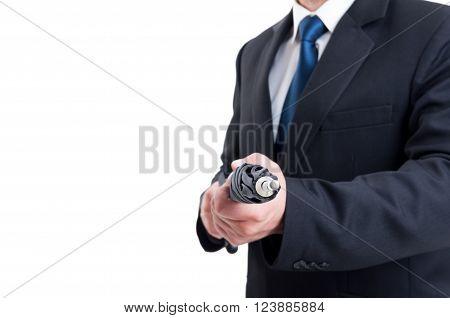 Business Man Holding Umbrella Like A Riffle