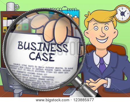 Business Case. Handsome Businessman in Office Workplace Holding a Paper with Concept through Magnifier. Colored Modern Line Illustration in Doodle Style.