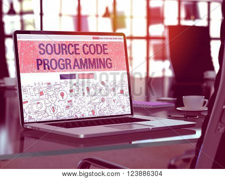 Modern Workplace with Laptop Showing Landing Page in Doodle Design Style with Text Source Code Programming. Toned Image with Selective Focus. 3D Render.
