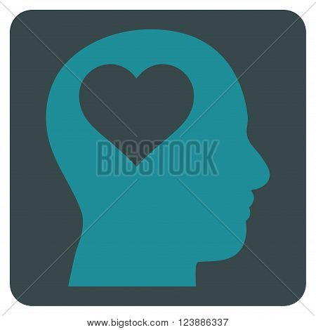 Lover Head vector symbol. Image style is bicolor flat lover head iconic symbol drawn on a rounded square with soft blue colors.