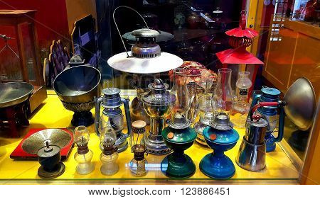 Udonthani province, THAILAND- December 07,2015: Various type of old kerosene lamps in showcase