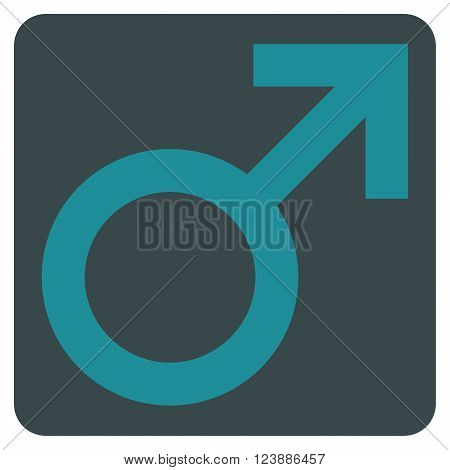 Male Symbol vector pictogram. Image style is bicolor flat male symbol icon symbol drawn on a rounded square with soft blue colors.
