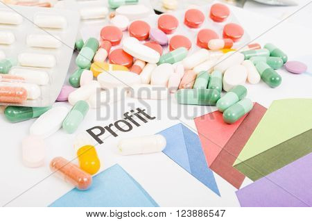 Financial profit from pills sales. Marketing report with pie chart