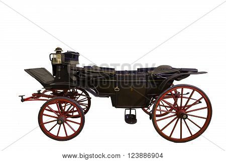 Smart black historic opened carriage isolated on white