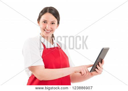 Friendly Hypermarket Female Employee Using Tablet