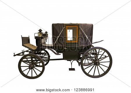 Smart black historic carriage isolated on white
