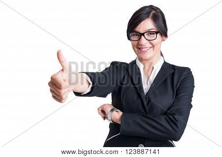 Business Woman Showing Like Or Thumb Up