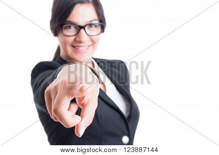 Business Woman Choosing Or Blaming Me