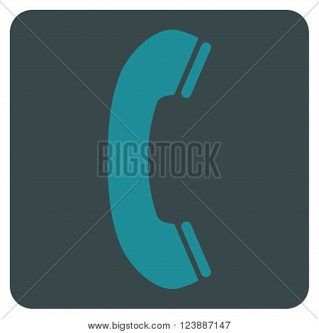 Phone Receiver vector icon symbol. Image style is bicolor flat phone receiver iconic symbol drawn on a rounded square with soft blue colors.