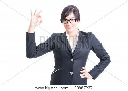 Business Woman Showing Ok Or Perfect Symbol