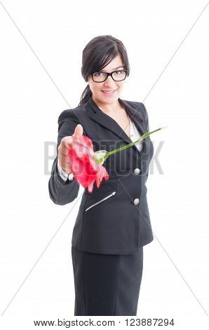 Elegant Woman Throwing A Flower To The Camera
