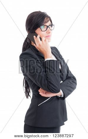 Busy And Modern Saleswoman Talking On Smartphone