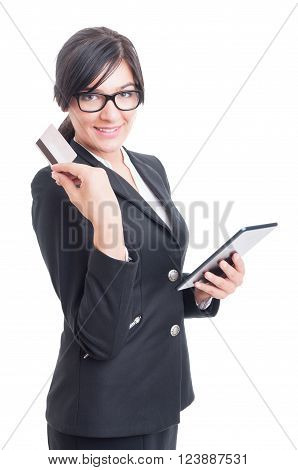 Online Saleswoman Holding A Credit Or Debit Card And Tablet