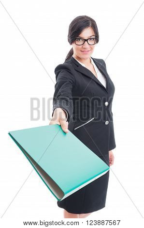 Business Lady Giving A File