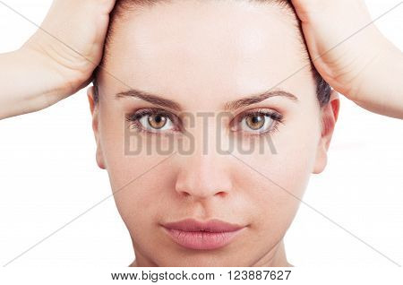 Healthy and natural beauty female face. Closeup with woman face on white background
