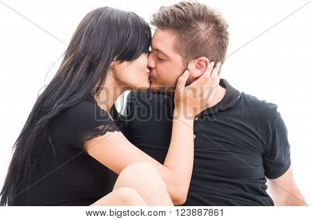 Brunette Couple Kissing On The Mouth