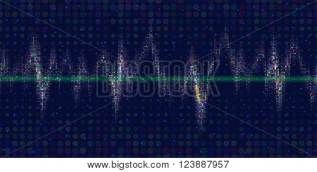 Sound waves oscillating glow, colorful  light. Vibrant halftone dots. Abstract technology background , vector illustration