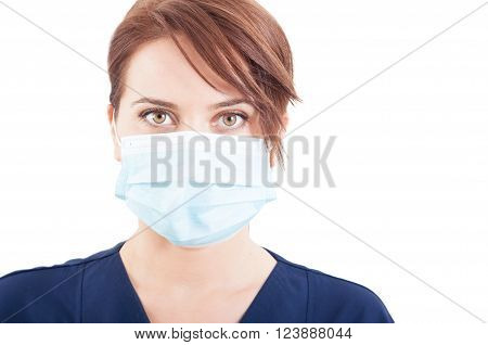 Confident Woman Doctor Face Wearing Surgical Mask