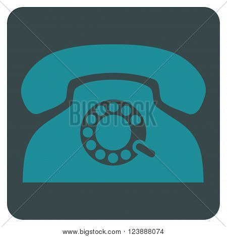 Pulse Phone vector pictogram. Image style is bicolor flat pulse phone iconic symbol drawn on a rounded square with soft blue colors.