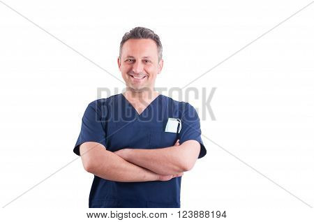 Confindent young male smiling doctor acting successful