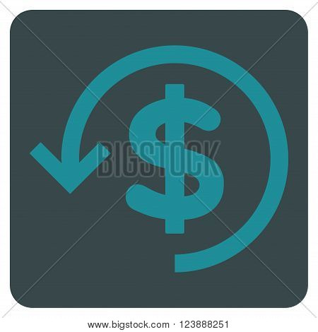 Refund vector icon. Image style is bicolor flat refund iconic symbol drawn on a rounded square with soft blue colors.