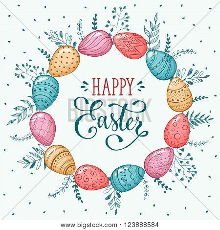 Easter wreath with easter eggs hand drawn isolated on white background. Decorative doodle frame from Easter eggs and floral elements. Easter eggs with ornaments in circle shape.