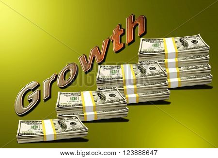 Stacks of $100 notes in 3D indicating a growth curve