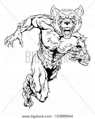 Wolfman Mascot Sprinting