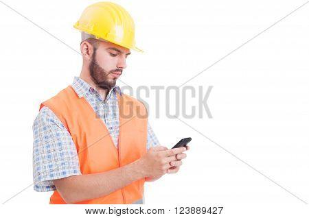 Builder Or Engineer Texting Or Sending Sms